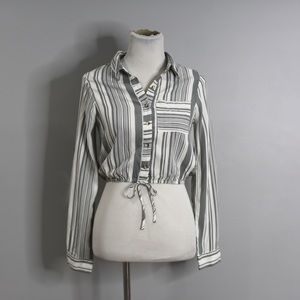 Good Luck Gem Striped Ropped Shirt Womens Small